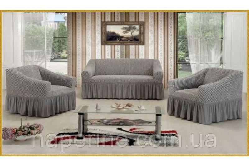 Чехол на диван + 2 кресла Altinkoza VIP, серый - Na perine - интернет-магазин постельного белья и домашнего текстиля в Одессе