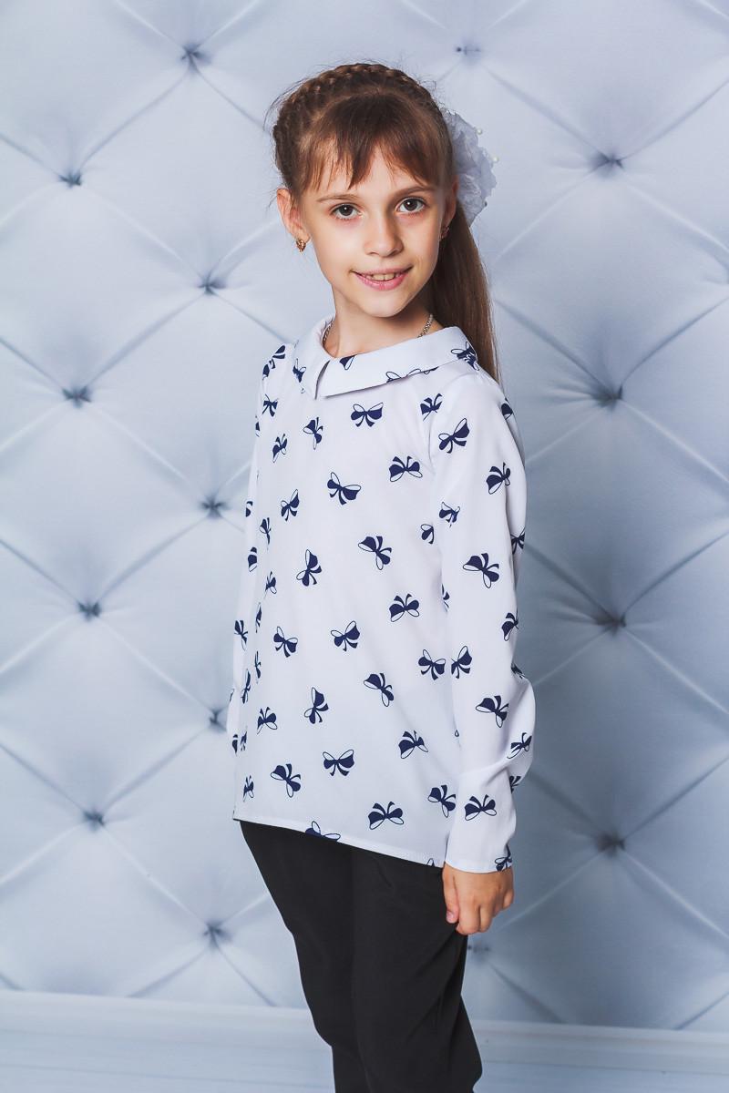Блузка для девочки Бантики белая