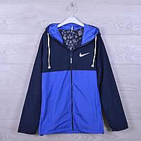 """Подростковая куртка ветровка """"Nike"""".13-18 лет. Синяя+электрик. Оптом."""
