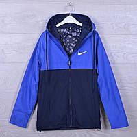 """Подростковая куртка ветровка """"Nike"""".13-18 лет. Электрик+синий. Оптом."""