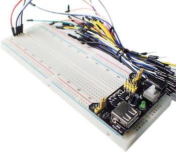 Комплект для моделирования PCB макетная монтажная плата MB-102 + модуль питания + джемперы