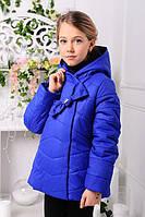 Куртка для девочки демисезонная короткая с капюшоном электрик
