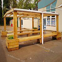 Деревянный навес с двускатной крышей 10
