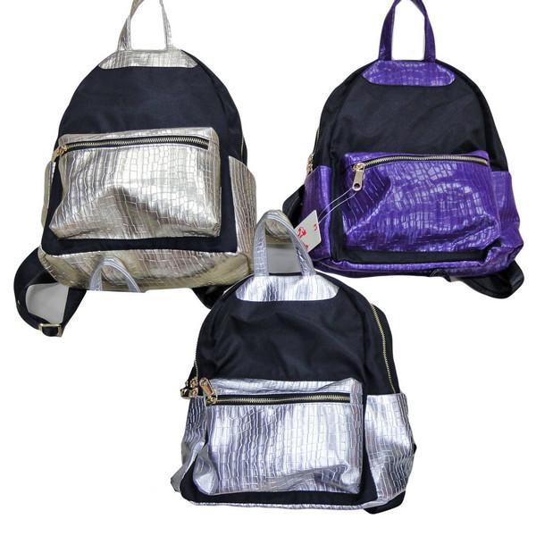 Рюкзак-сумка молодежный  ЧЕРНО - ЖЕМЧУЖНЫЙ-2, 31х26х12 см.