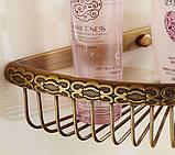 Поличка кутова в ванну настінна підвісна бронза 0407, фото 2