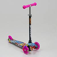 Самокат Best Scooter 1295 для детей 3-6 лет, 3 колеса 110 см, свет, PU, трубка руля алюминиевая