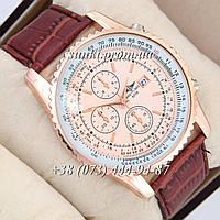 Мужские кварцевые часы Breitling Pink-Gold/Pink-Gold