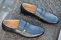 Туфли, мокасины мужские молодежные кожанные без шнурков черные модные Китай 2017