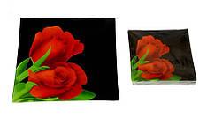 Набор тарелок Royal Set красные тюльпаны на черном 1+6 предметов