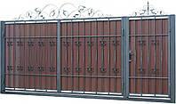 Кованые ворота и калитка В-16 с ПРОФНАСТИЛОМ