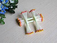 Тайские тычинки розовые с желтым кончиком,  на белой  нити, 23-25 нитей, 50 головок
