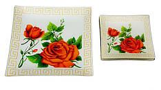Набор тарелок Royal Set красные розы на белом 1+6 предметов