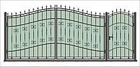 Кованые ворота и калитка ВД-16 с ПРОФНАСТИЛОМ
