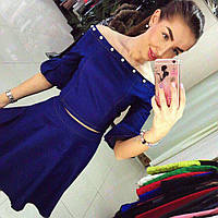 Джинсовый женский костюм с юбкой