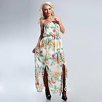 Платье без бретелек шифон в цветочный принт  38,42,44,46 размеры