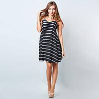 Черное платье на бретельках в белую полоску 38-46 размеры