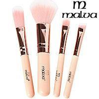 Malva Набор кистей для макияжа M-302 (4шт) кремовые ручки