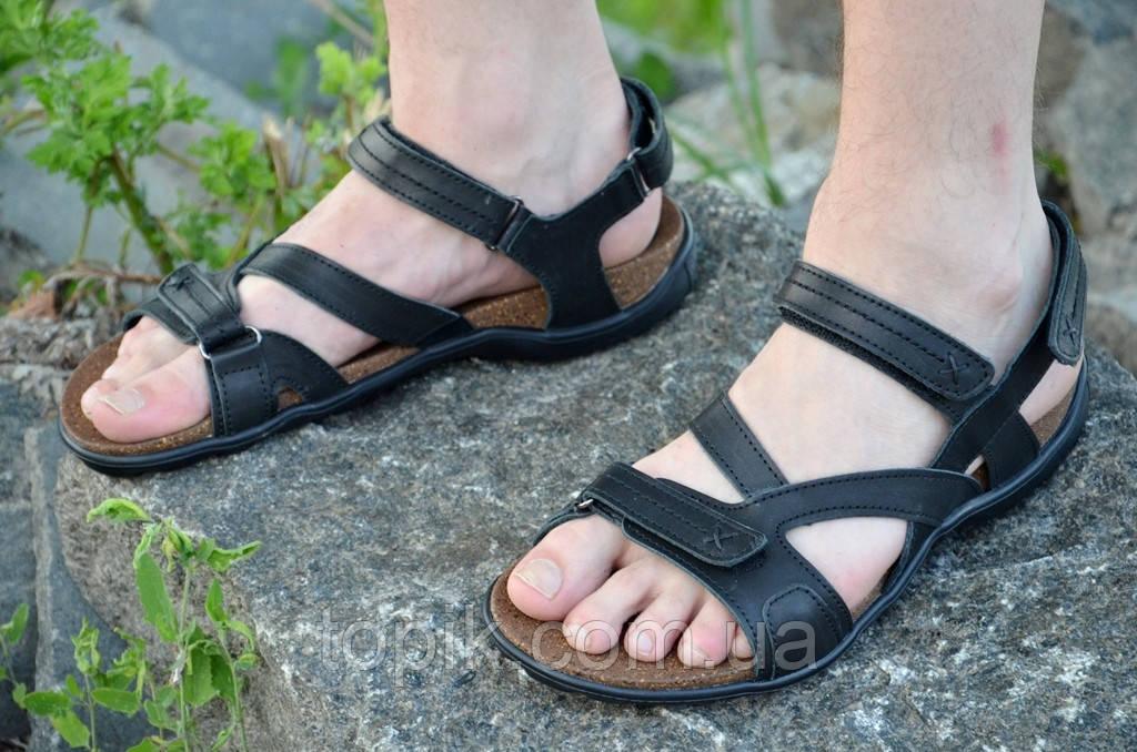 Босоножки, сандалии мужские черные мягкие, практичные натуральная кожа (Код: 800)