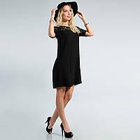 Черное платье с гипюровый верх и рукава 40,42,44,46,48 размеры