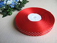 Лента в горох 1,5 см цвет - красный
