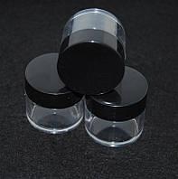 Баночка прозрачная с черной крышкой, емкость для крема, 30 мл, тара пустая