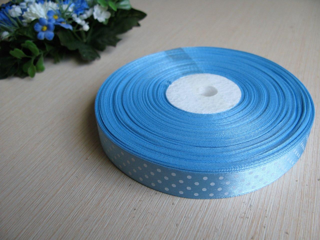 Лента в горох 1,5 см цвет - голубой