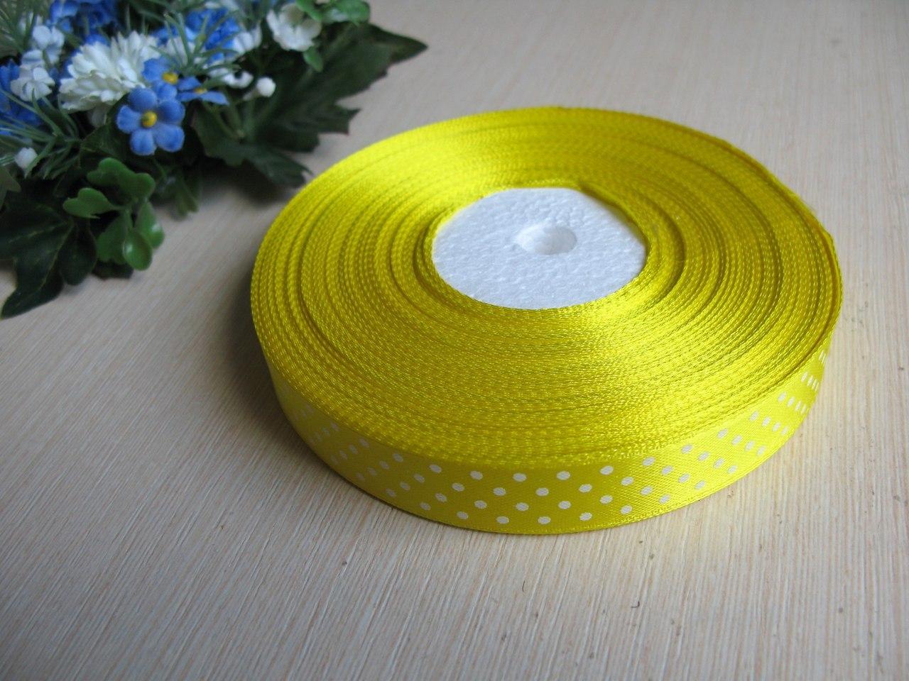 Лента в горох 1,5 см цвет - желтый