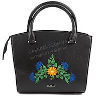 Каркасная стильная качественная сумка с вышивкой налицевой части B.Elite art. 06-06 черная этника Украина