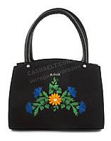 Каркасная стильная качественная сумка с вышивкой налицевой части B.Elite art. 05-22 черная этника Украина