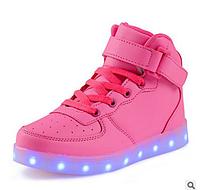 Pink High Step, Розовые высокие светящиеся кроссовки LED (USB подзарядка), размер 38