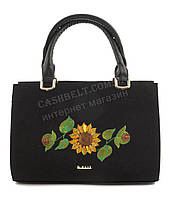 Каркасная стильная качественная сумка с вышивкой налицевой части B.Elite art. 06-08 черная этника Украина
