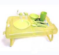 Набор пластм посуды на 4 чел+складной столик