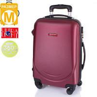 Средний дорожный чемодан gravitt ds310m-15 бордовый на 4-х колесах с выдвижной ручкой