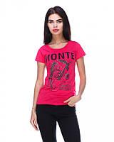 Модная яркая стильная молодежная футболка , малиновая