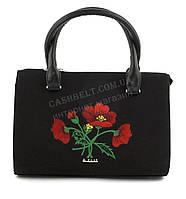 Каркасная стильная качественная сумка с вышивкой налицевой части B.Elite art. 06-09 черная этника мак Украина