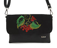 Наплечная стильная качественная сумка с вышивкой налицевой части B.Elite art. 05-24 черная этника Украина