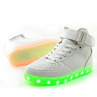 LED кроссовки Белые унисекс, 11 режимов подсветки, шнурок, размер 37-41