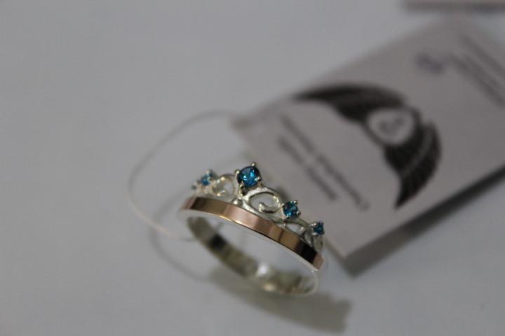 Кольцо корона  из серебра с золотом