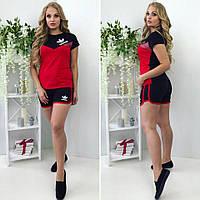 Трикотажный спортивный костюм:короткие шорты с футболкой, принт, красно-черный