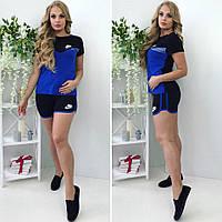 Трикотажный спортивный костюм:короткие шорты с футболкой, принт, сине-черный