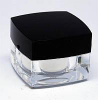 Баночка прозрачная с черной крышкой, емкость для геля, 15 мл, тара пустая