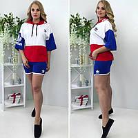 Спортивный костюм:короткие шорты и футболка с широким рукавом до локтя и капюшоном,синий красный белый