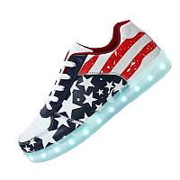 LED кроссовки Simulation Американский флаг унисекс, 11 режимов подсветки, шнурок, размер 35-41