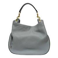 Женская  сумка из натуральной кожи фабричная (отшита  в Италии) серого цвета, на одну ручку,одно отделение
