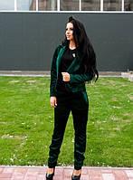 Деловой женский велюровый костюм с пиджаком и брюки зеленый