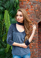 Женская серая велюровая кофта рукав за локоть