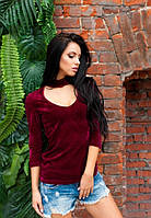 Женская бордовая велюровая кофта рукав за локоть