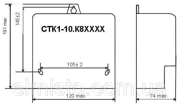 Габаритный чертеж электросчетчика CTK1-10.K82I4Ztm-R2