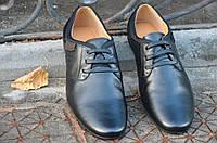 Туфли, мокасины мужские молодежные кожанные черные практичные Китай 2017