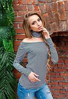 Женская кофта в полоску с чокером длинный рукав